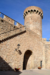 Detail of ancient fortress of Tossa de Mar, Girona Spain