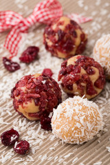 truffle candy brigadeiros with coconut and cranberry