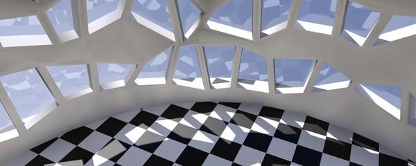 Bovenaanzicht interieur zaal met tegel vloer