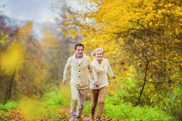 Active seniors having fun in nature