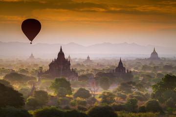 Hot air Balloon over Pagoda Fields