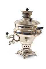 Old russian tea samovar isolated on white