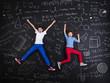 Leinwanddruck Bild - Two schoolkids learning