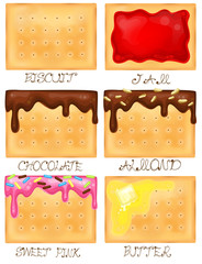 Biscuit icon set with different toppings, create by vector