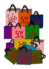 Bag Sale 50%, 50 percent discount vector