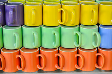 Arrangement of colorful ceramic cup