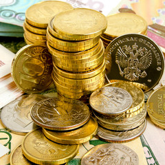 Coins and banknotes.