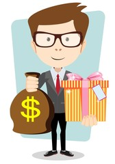 The young man gives a bag with dollars and gift, vector