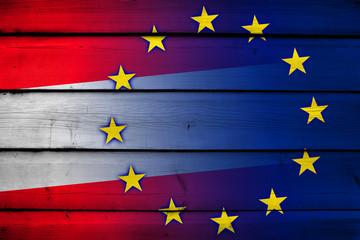 Austria and European Union Flag on wood background