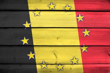 Belgium and European Union Flag on wood background