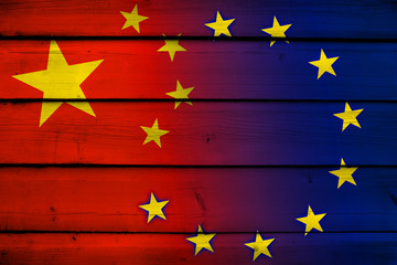 China and European Union Flag on wood background