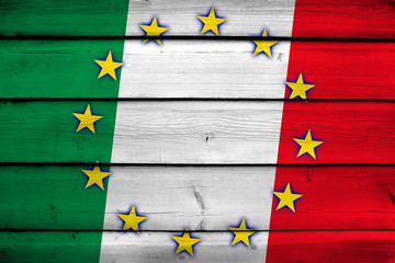 Italy and European Union Flag on wood background