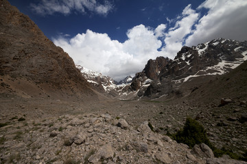 Mountains and sky with clouds. Wide angle view.