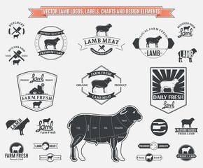 Vector Lamb Logos, Labels, Charts and Design Elements