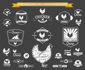 Vector Chicken Logos, Labels, Charts and Design Elements
