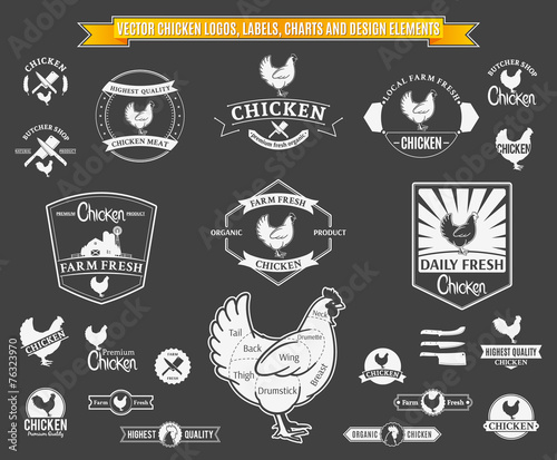 Vector Chicken Logos, Labels, Charts and Design Elements - 76323970