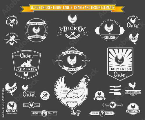 Fototapeta Vector Chicken Logos, Labels, Charts and Design Elements