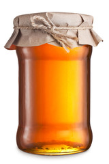 Glass can with honey. Clipping paths.