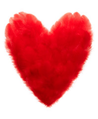 Valentines Day. Heart shaped made of Red feathers