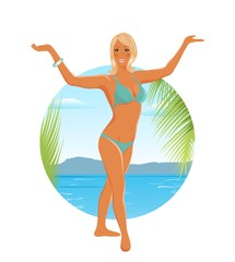 pretty blond girl on summer background