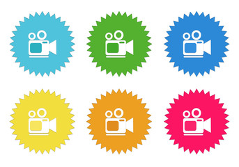 Set of colorful stickers icons with camcorder symbol