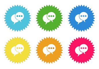Set of colorful stickers icons bubble speeches symbol