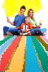 Family choosing a color for painting.