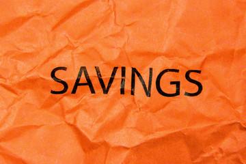 savings word on paper