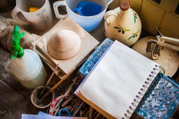 Pottery workshop tools