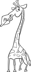 giraffe animal cartoon coloring page