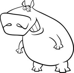 hippopotamus cartoon coloring page