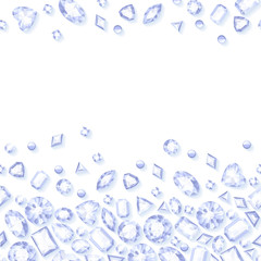 White jewels seamless horizontal background.