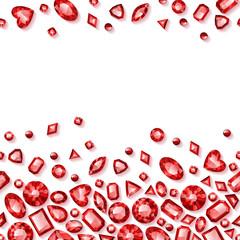 Red jewels seamless horizontal background.