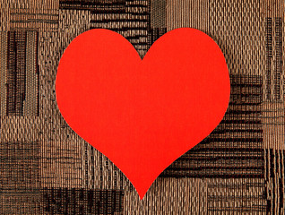 Heart Shape on the Fabric Background