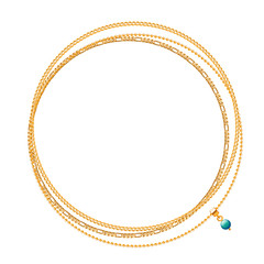 Round frame of golden chains with green bead.