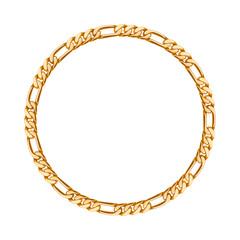 Thin golden chain - round frame.
