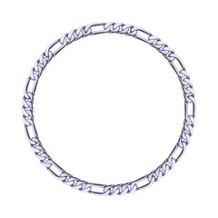 Thin silver chain - round frame.