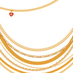 Golden chains background with heart pendant.