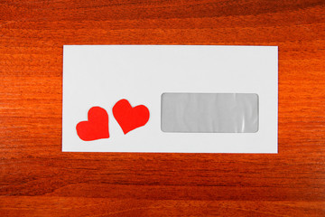 Envelope with a Heart Shapes