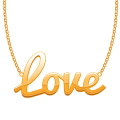 Golden LOVE word pendant on chain.