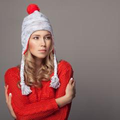 Beautiful woman wearing winter clothing.