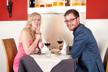 Couple Having a Wine at the Restaurant.