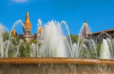 Fountain in Plaza Catalunya in Barcelona
