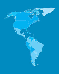 Vector Map - America Countries Cyan