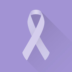 Lavender awareness ribbon (all kinds of cancer). Flat design