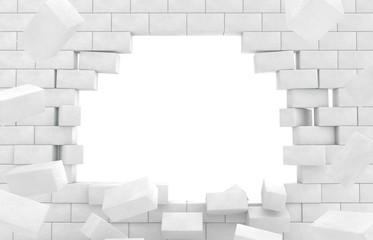 Wall of broken brick