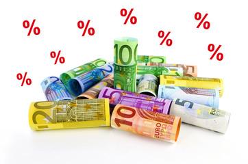 Euro-Geldrollen und Prozentzeichen