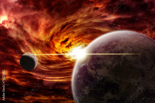 Leinwandbild Motiv Planet explosion apocalypse