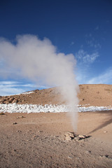 Geyser in Natural reserve Eduardo Avaroa in Bolivia