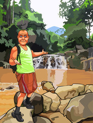 cartoon surprised man with a backpack standing near a waterfall